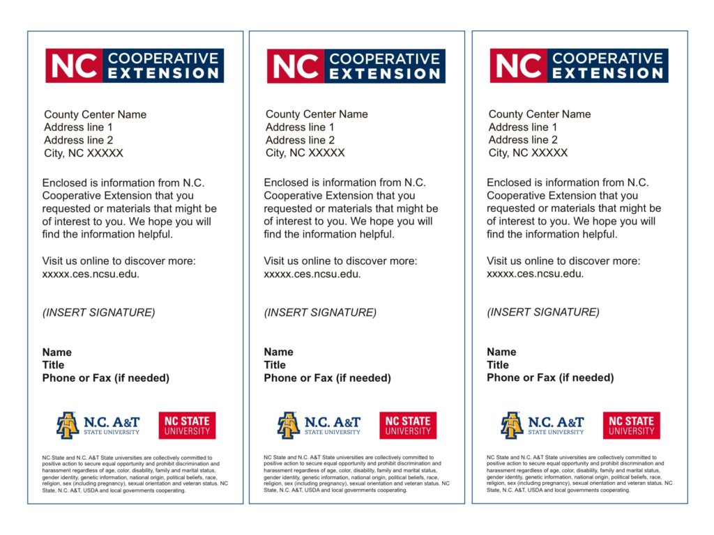 N.C. Cooperative Extension - Enclosure Slips template