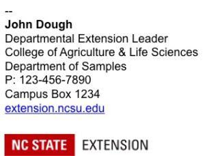 NC State Extension Email Signature example 1