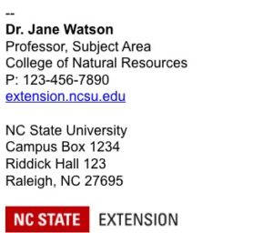 NC State Extension Email Signature example 2