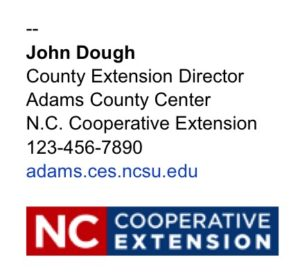 N.C. Cooperative Extension logo for county employee email signature