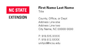 NC State Extension_Business Card sample_1 column