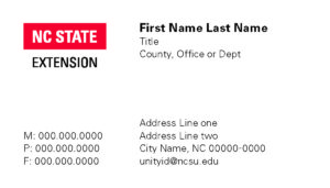 NC State Extension_Business Card sample_2 columns