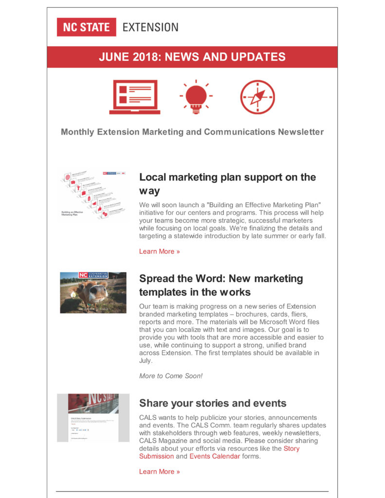 NC State Extension MarComm Newsletter_June 2018_Page 1