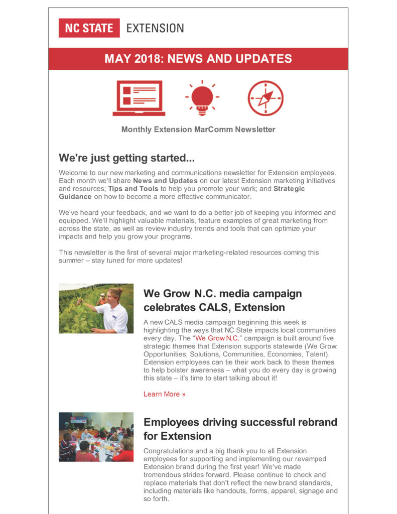 NC State Extension MarComm Newsletter_May 2018_Page 1