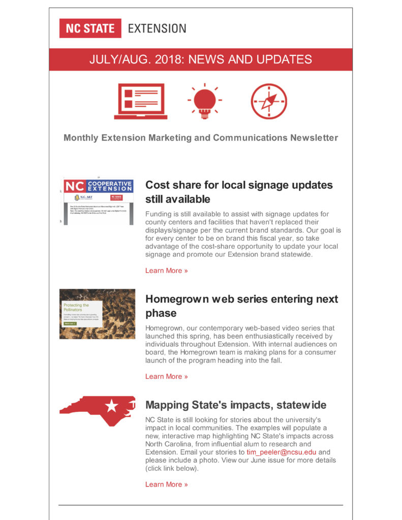 Extension marketing and communications newsletter for July-August 2018_Page 1