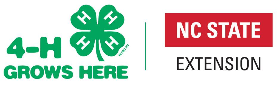 4-H Grows Here logo with NC State Extension logo