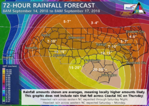 Hurricane Florence 72-Hour Rainfall Forecast Map as of September 14, 2018