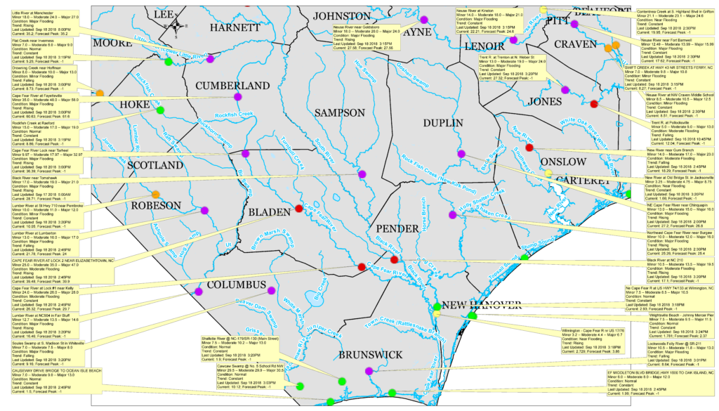 River Cresting Map for N.C._Hurricane Florence_9-18-18