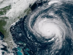 Satellite image of Hurricane Florence approaching the Eastern seaboard.