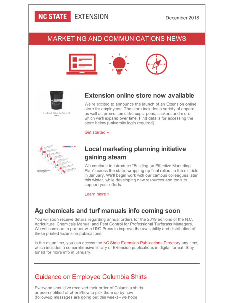 NC State Extension Marketing and Communications newsletter for December 2018