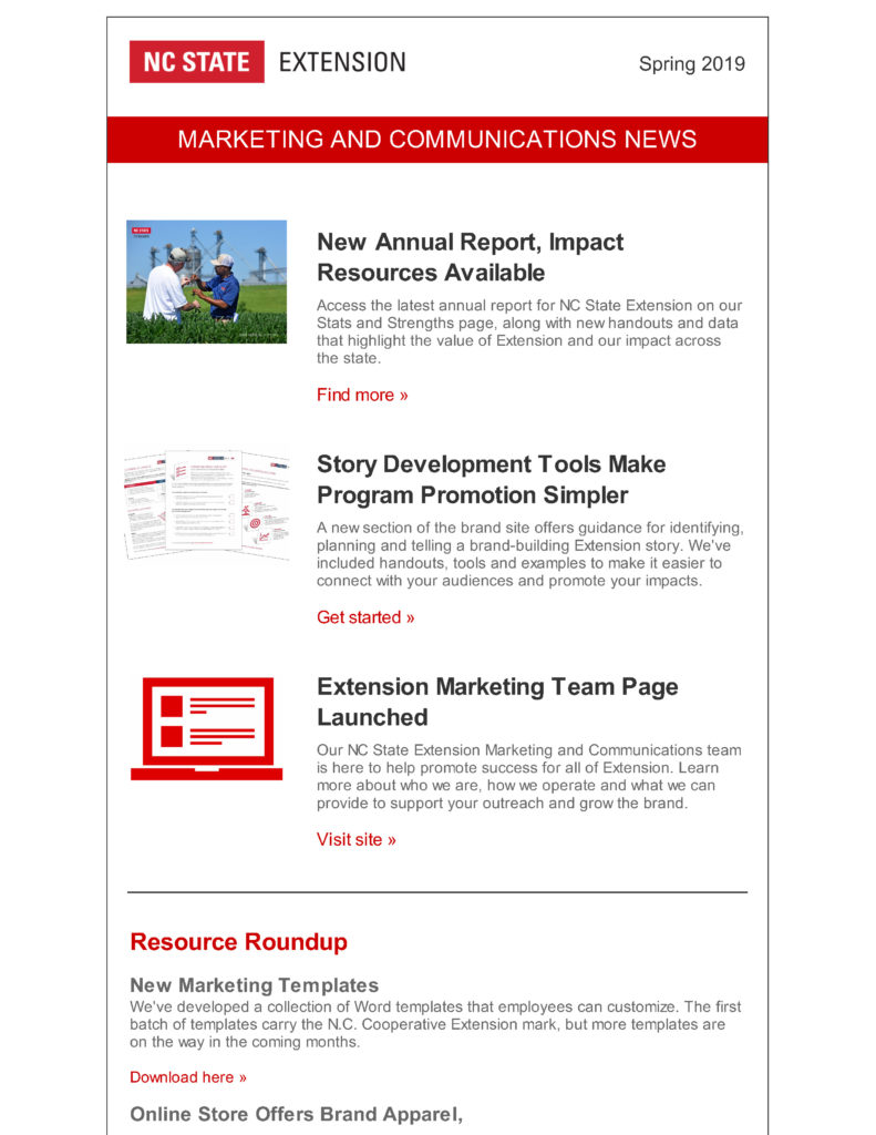 NC State Extension Marketing and Communications newsletter cover for Spring 2019