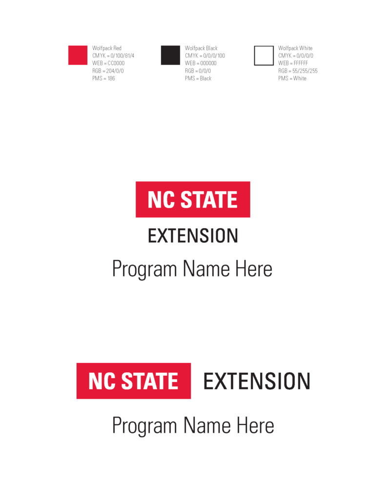 Examples of how to pair a program name with the base NC State Extension logo
