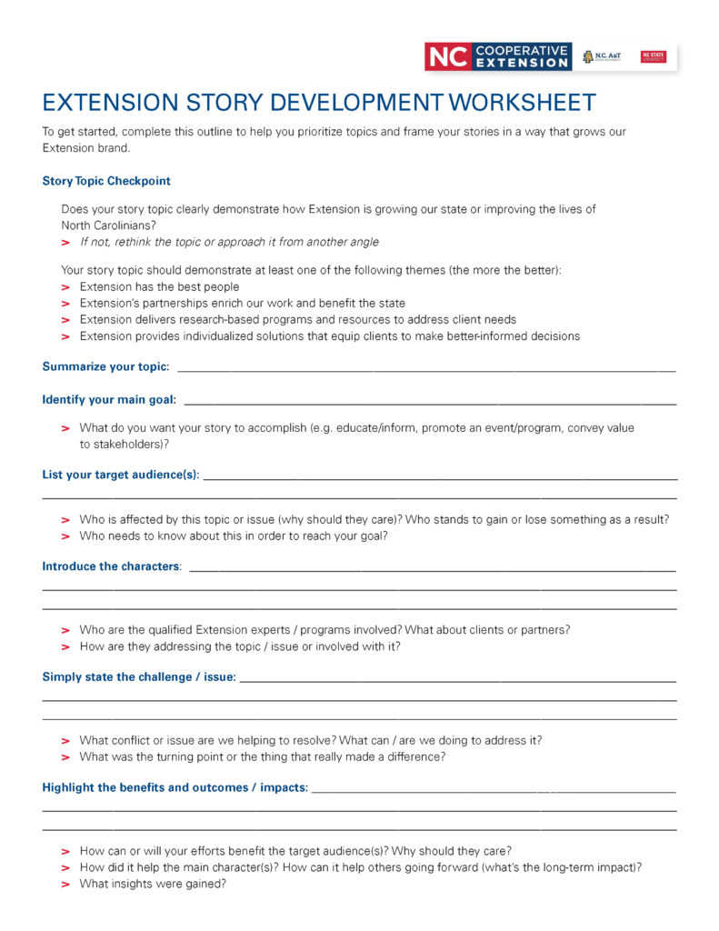 Story development worksheet for N.C. Cooperative Extension