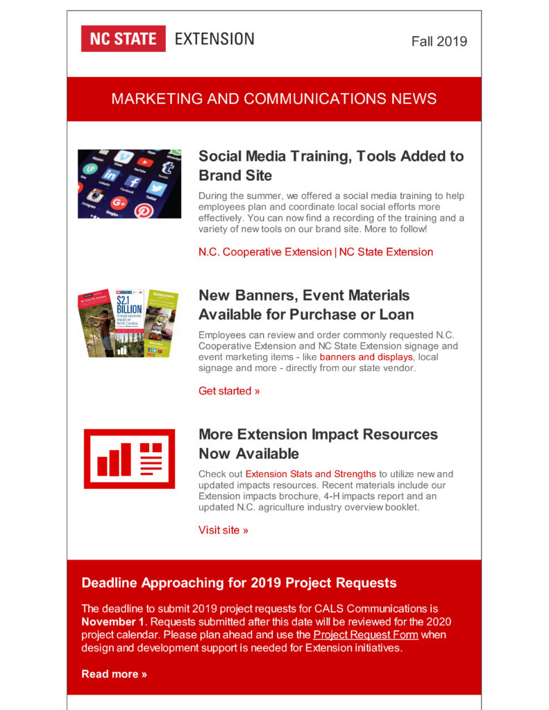 Cover photo of NC State Extension Marketing and Communications Newsletter for Summer and Fall 2019