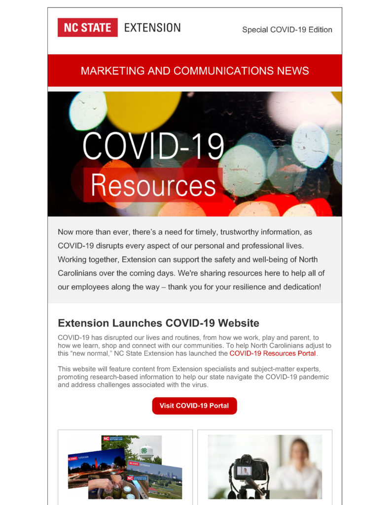 Screenshot of the first page of the NC State Extension Marketing and Communications special edition newsletter with COVID-19 resources.