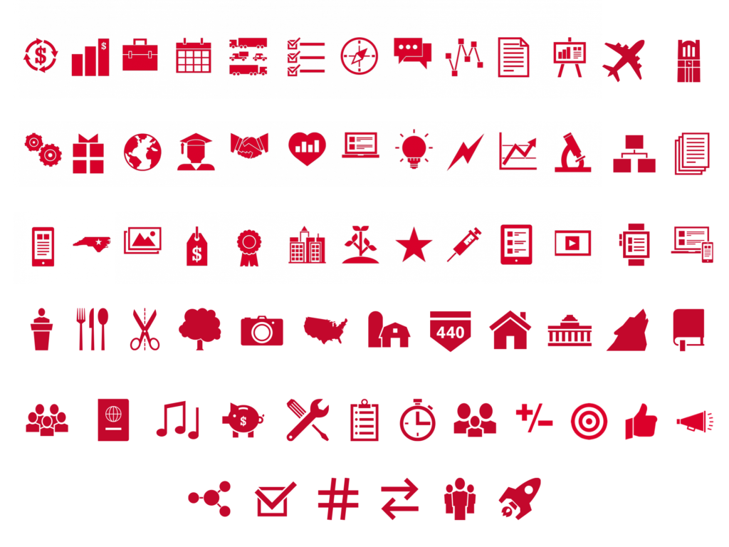NC State University graphic icons set displayed against a white background