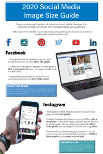 Infographic chart illustrating the appropriate image sizes for use on various social media channels like Facebook and Instagram.