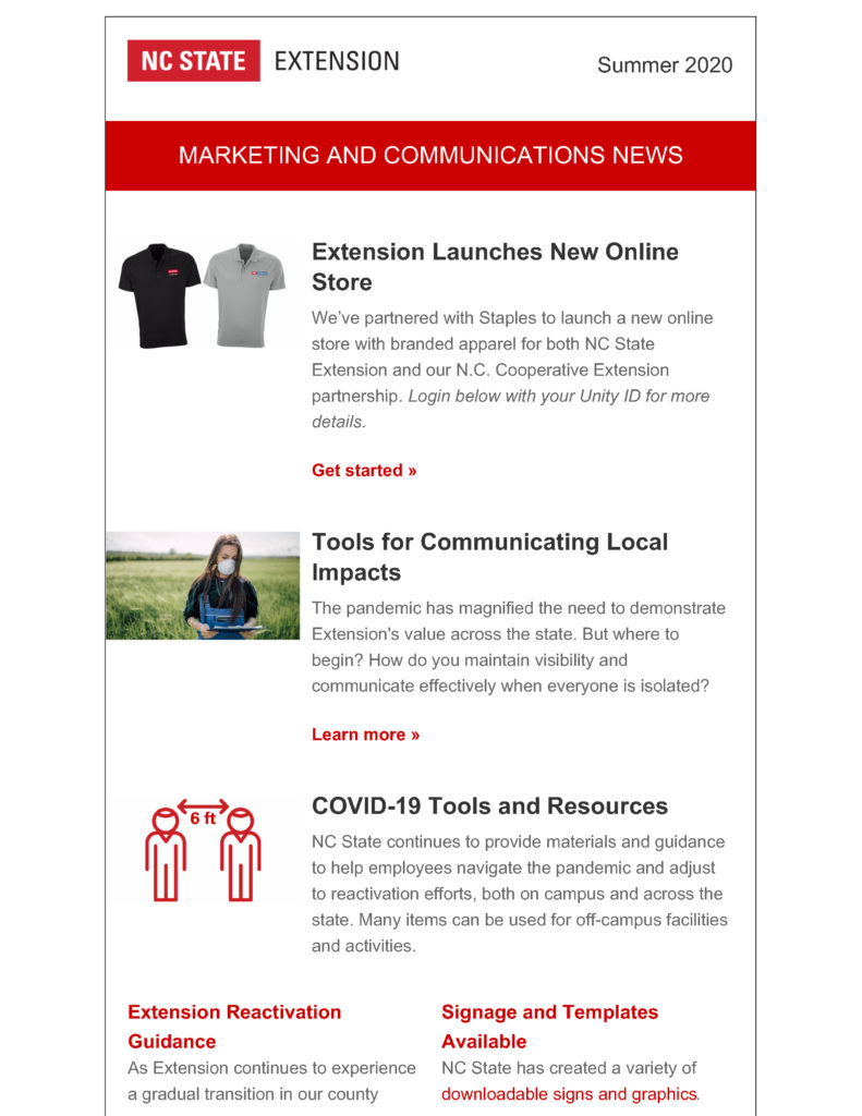 First page of the Summer 2020 edition of NC State Extension's Marketing and Communications employee newsletter