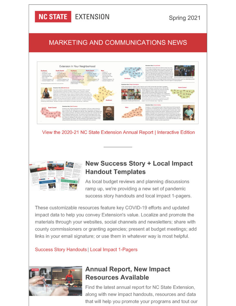 First page of the Spring 2021 edition of NC State Extension's Marketing and Communications employee newsletter