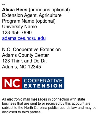 North Carolina Cooperative Extension employee email signature long example