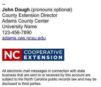 North Carolina Cooperative Extension employee email signature short example