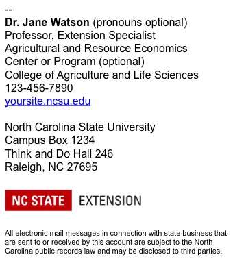 NC State Extension employee email signature long example