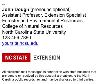 NC State Extension employee email signature short example