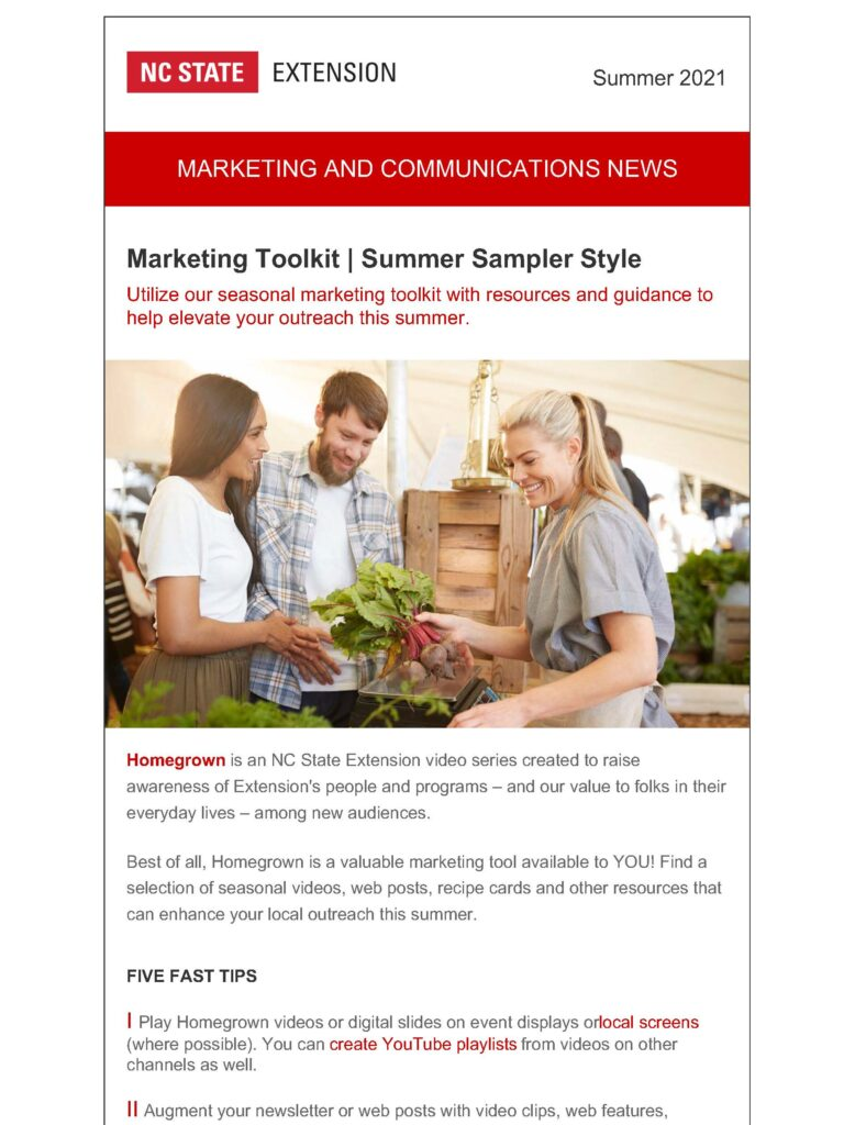 View the first page of the NC State Extension marketing and communications newsletter for summer 2021.